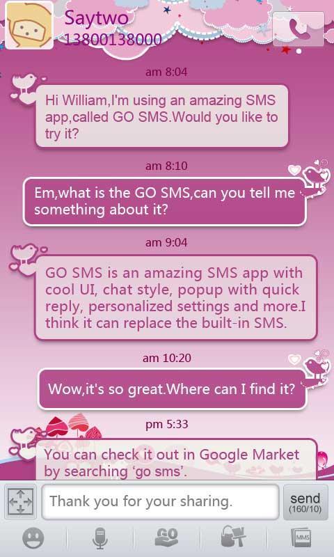 GO SMS Pro Bird Lover Theme 1