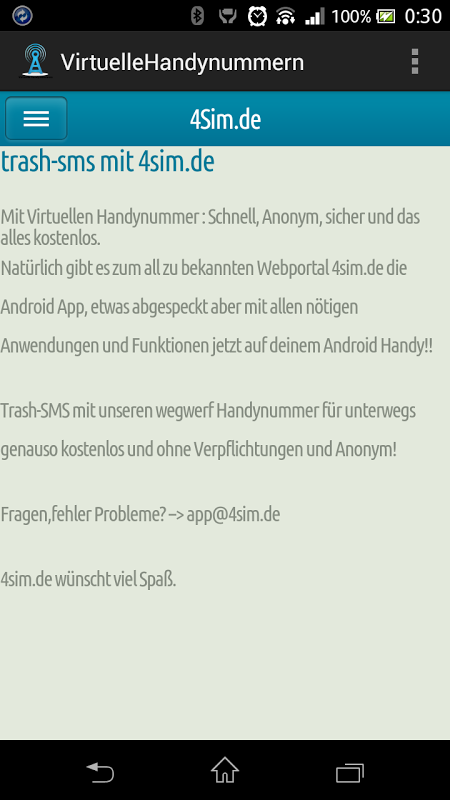 1. Virtuelle Nummer TrashSMS 2