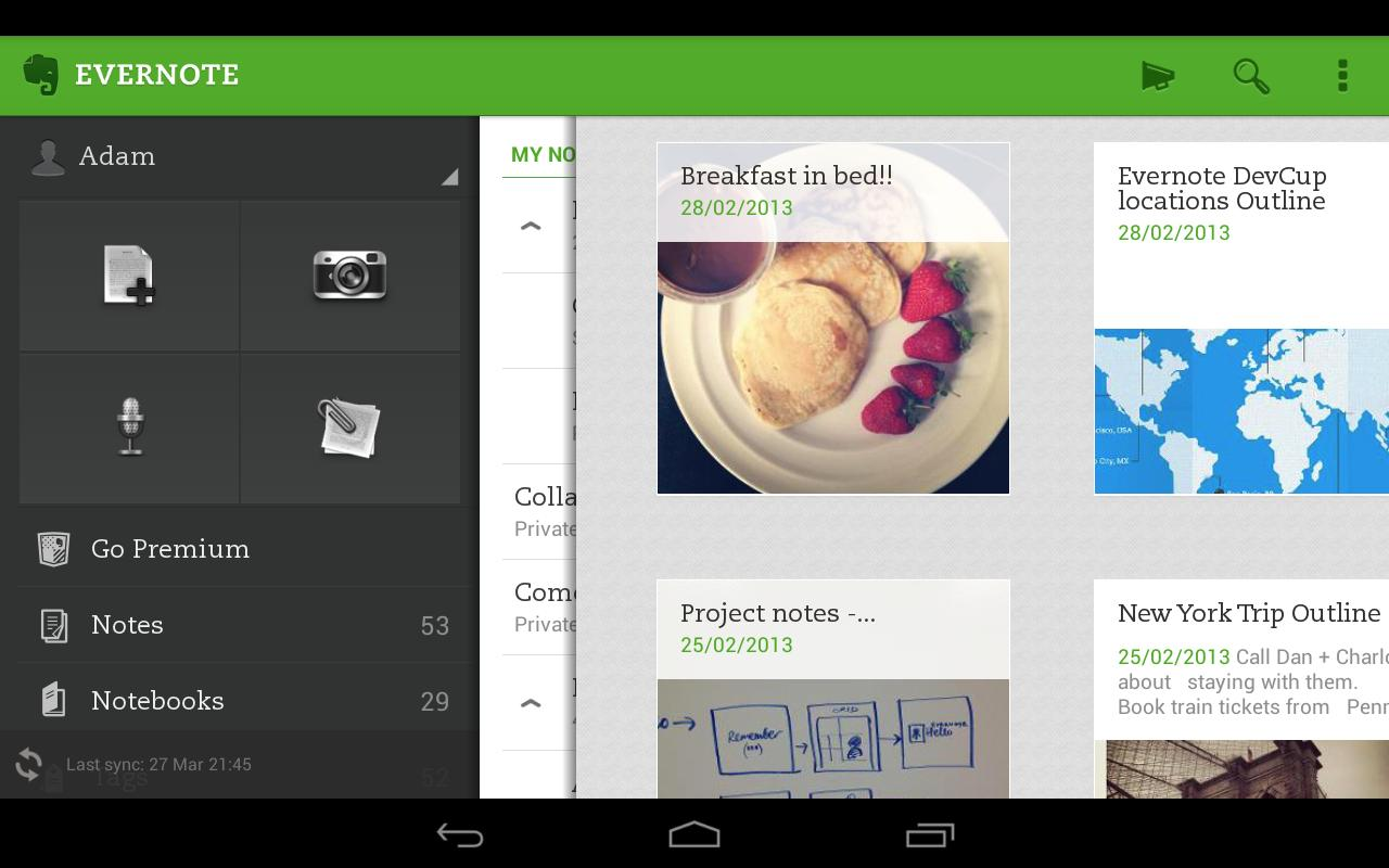 Evernote para Android 2