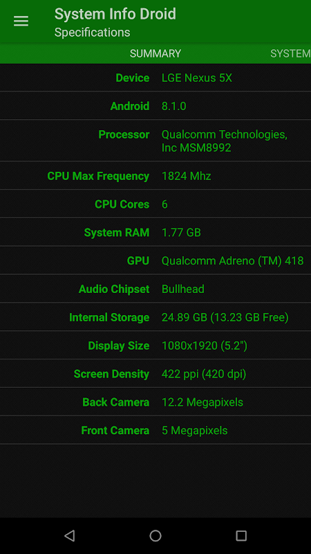System Info Droid 1